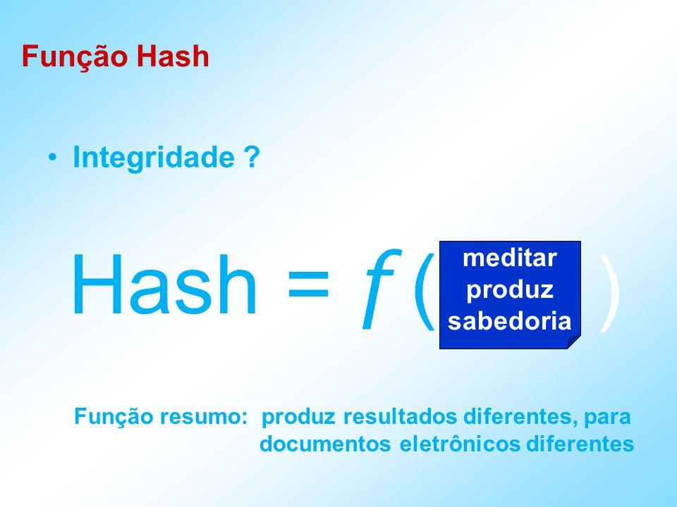 Propriedades da Função Hash H deve ser aplicada a qualquer tamanho de bloco H deve produzir uma saída de tamanho fixo Fácil de computar y = H(x) em software ou hardware Inviável computar x = H -1 (y) Dado x, é inviável obter y x com H(y) = H(x) É inviável obter-se (x,y) tal que H(x) = H(y) Função Hash