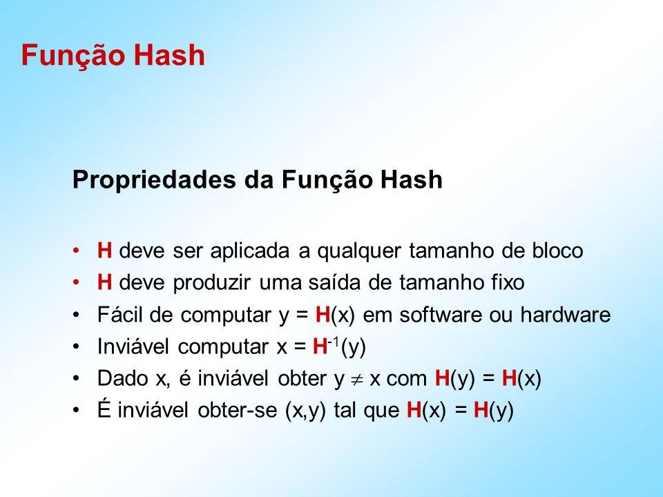 Propriedades da Função Hash H deve ser aplicada a qualquer tamanho de bloco H deve produzir uma saída de tamanho fixo Fácil de computar y = H(x) em so