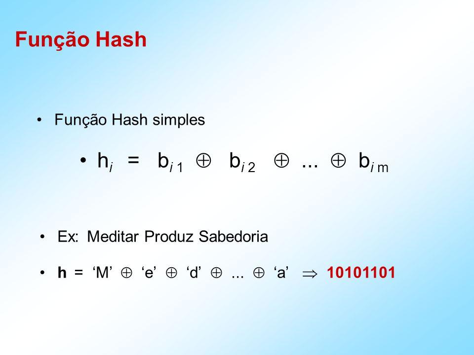 Função Hash simples h i = b i 1 b i 2... b i m Ex: Meditar Produz Sabedoria h = M e d... a 10101101 Função Hash