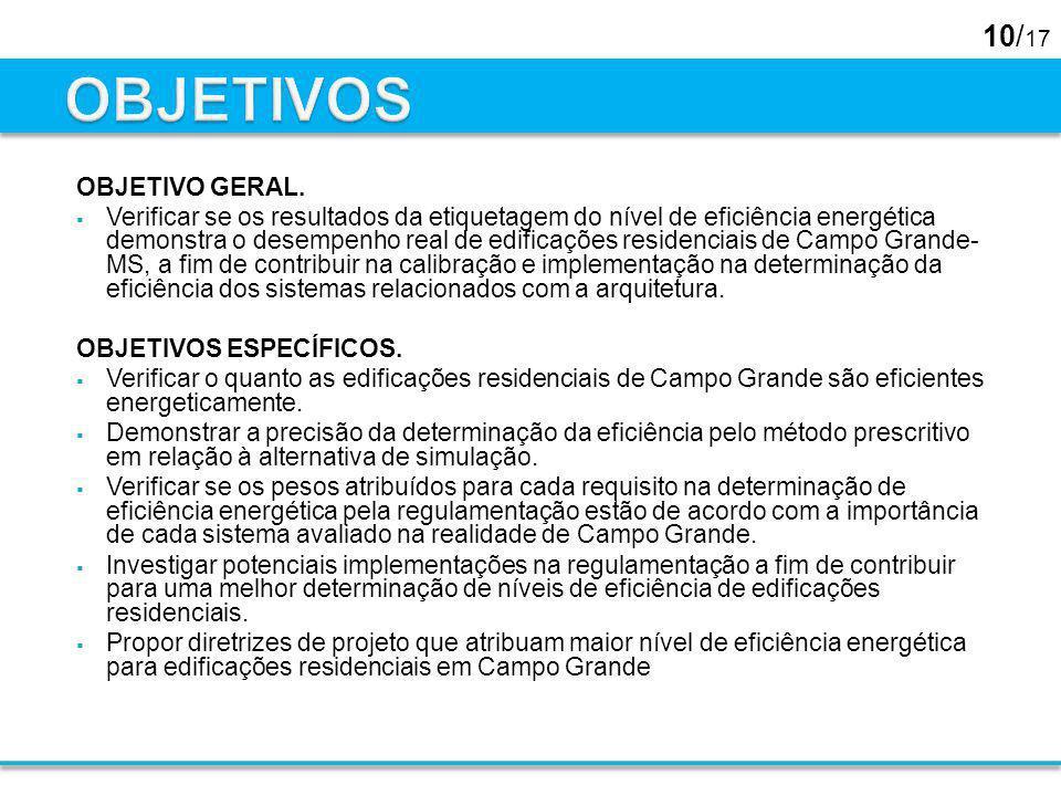 10/ 17 OBJETIVO GERAL. Verificar se os resultados da etiquetagem do nível de eficiência energética demonstra o desempenho real de edificações residenc