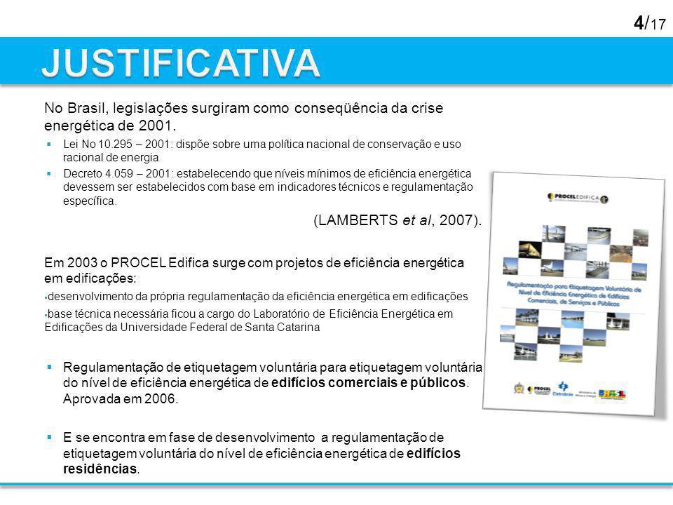 4/ 17 No Brasil, legislações surgiram como conseqüência da crise energética de 2001. Lei No 10.295 – 2001: dispõe sobre uma política nacional de conse