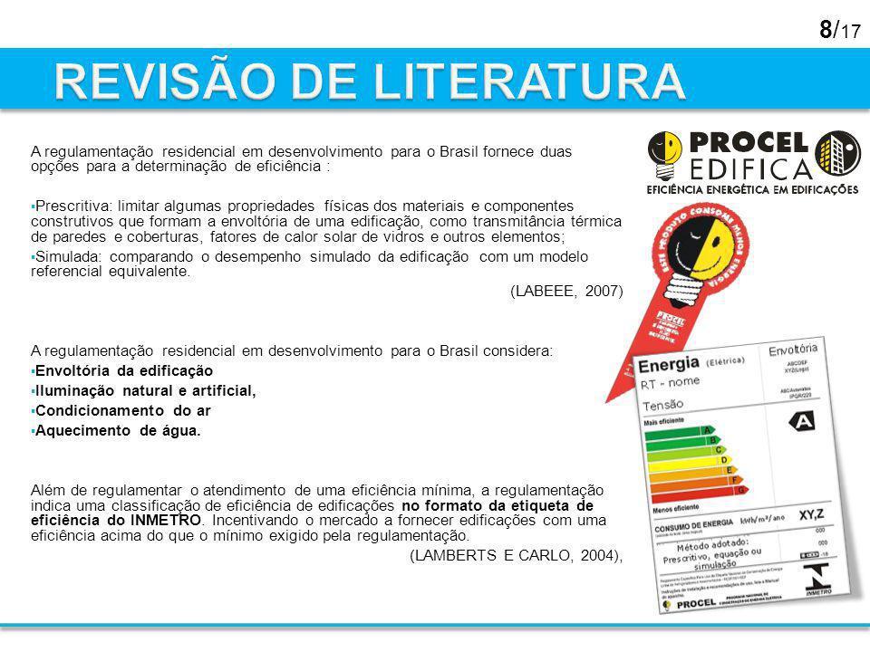 8/ 17 A regulamentação residencial em desenvolvimento para o Brasil fornece duas opções para a determinação de eficiência : Prescritiva: limitar algum