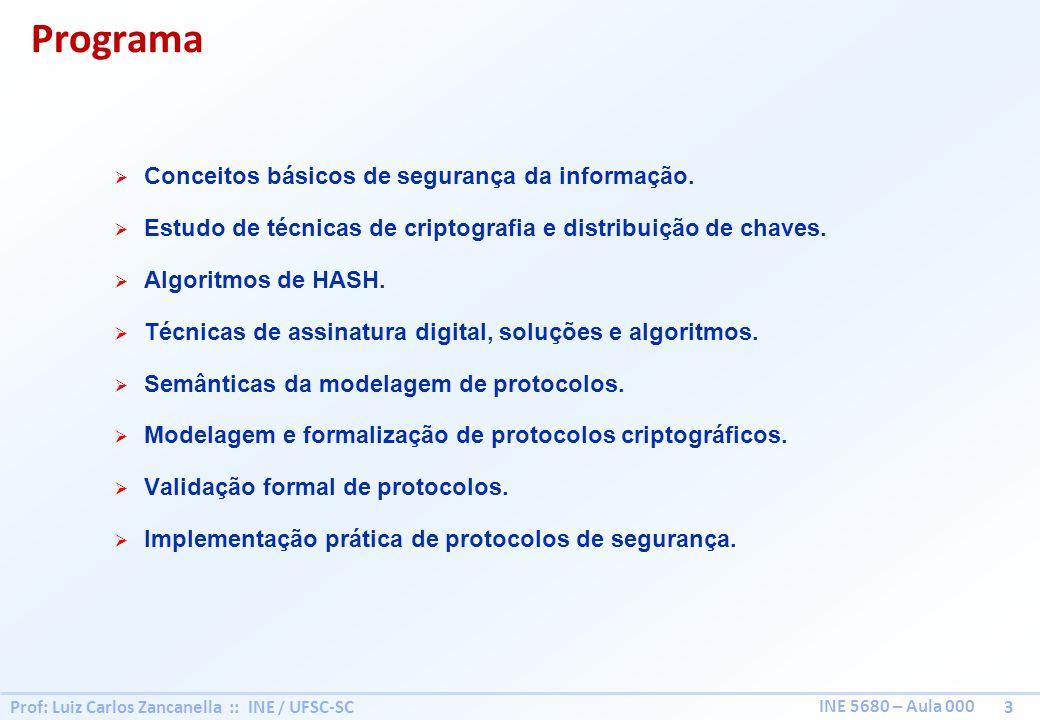 Prof: Luiz Carlos Zancanella :: INE / UFSC-SC 3 INE 5680 – Aula 000 Programa Conceitos básicos de segurança da informação.