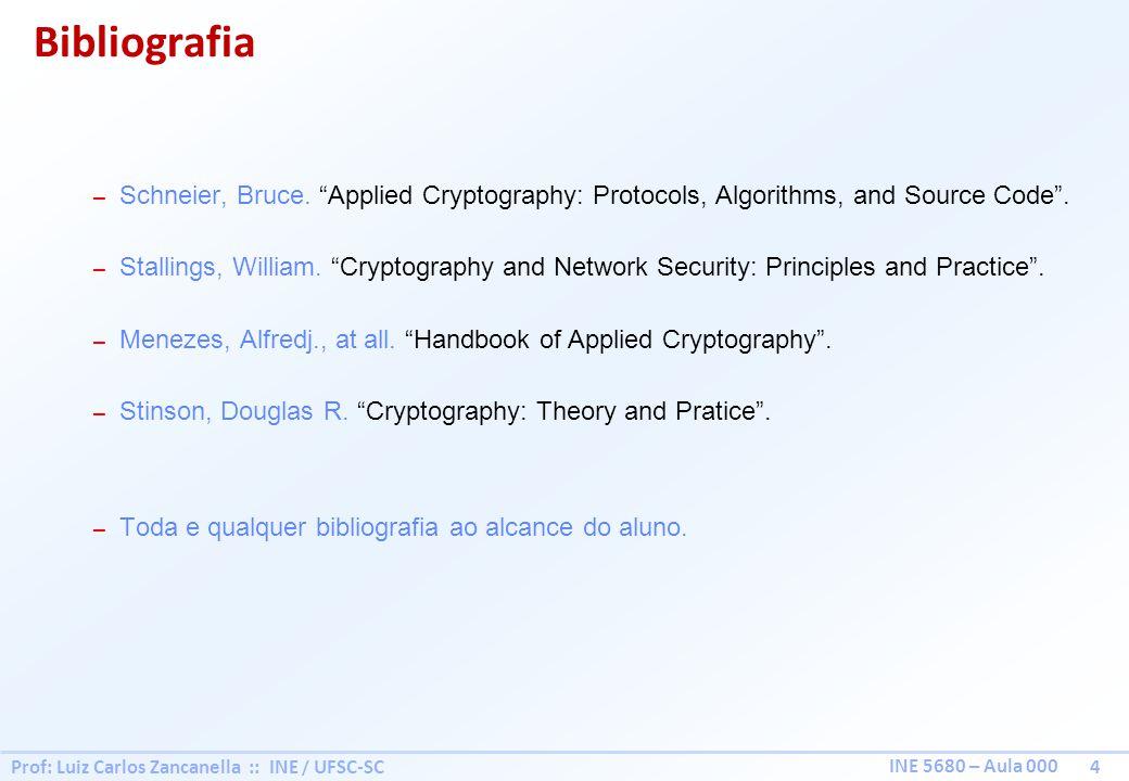 Prof: Luiz Carlos Zancanella :: INE / UFSC-SC 4 INE 5680 – Aula 000 – Schneier, Bruce.