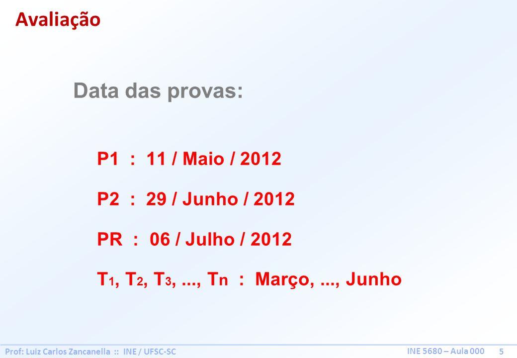 Prof: Luiz Carlos Zancanella :: INE / UFSC-SC 5 INE 5680 – Aula 000 Data das provas: P1 : 11 / Maio / 2012 P2 : 29 / Junho / 2012 PR : 06 / Julho / 2012 T 1, T 2, T 3,..., T n : Março,..., Junho Avaliação