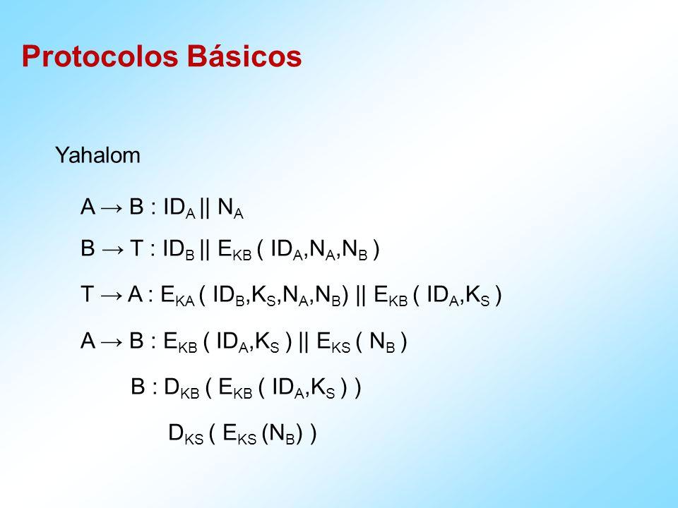 Protocolos Básicos Yahalom A B : ID A || N A B T : ID B || E KB ( ID A,N A,N B ) T A : E KA ( ID B,K S,N A,N B ) || E KB ( ID A,K S ) A B : E KB ( ID A,K S ) || E KS ( N B ) B : D KB ( E KB ( ID A,K S ) ) D KS ( E KS (N B ) )