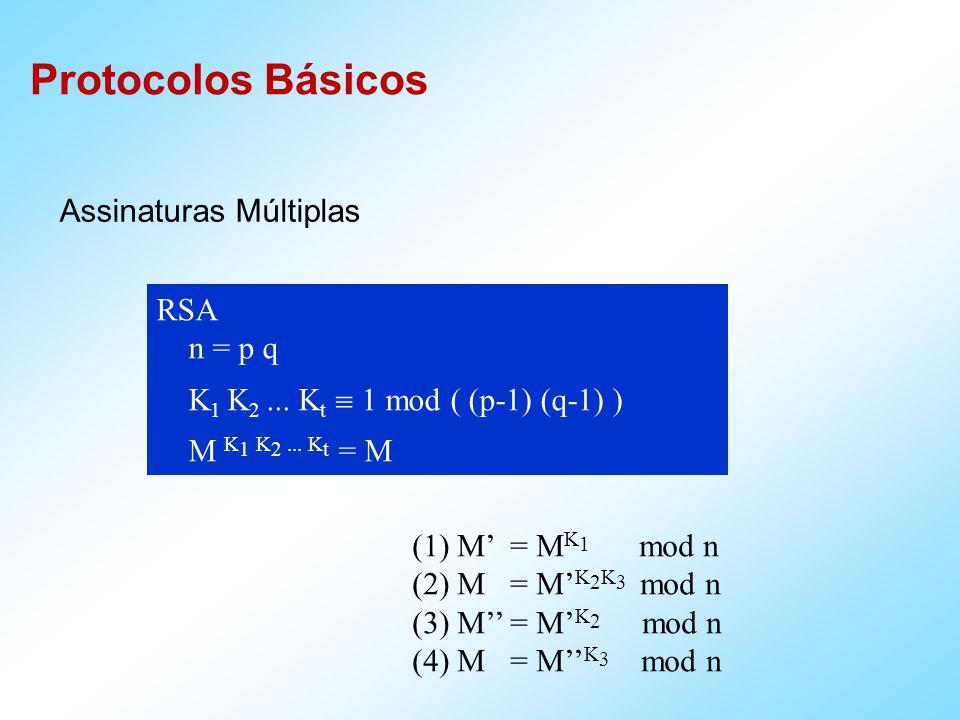 Protocolos Básicos Particionamento de Segredos T : Gera R (random bit string tamanho de M) T : S = M R T A : R T B : S A ^ B : M = R S Problema perda de R ou S