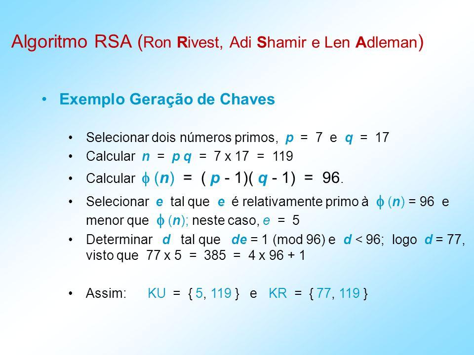 Exemplo Geração de Chaves Selecionar dois números primos, p = 7 e q = 17 Calcular n = p q = 7 x 17 = 119 Calcular (n) = ( p - 1)( q - 1) = 96.