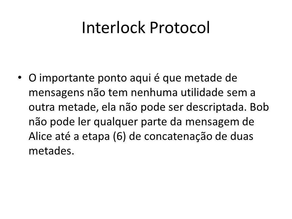Interlock Protocol Alice não pode ler qualquer parte da mensagem de Bob até a etapa (7), ou seja, até que Alice junte as duas metades e descriptografe com sua chave privada.