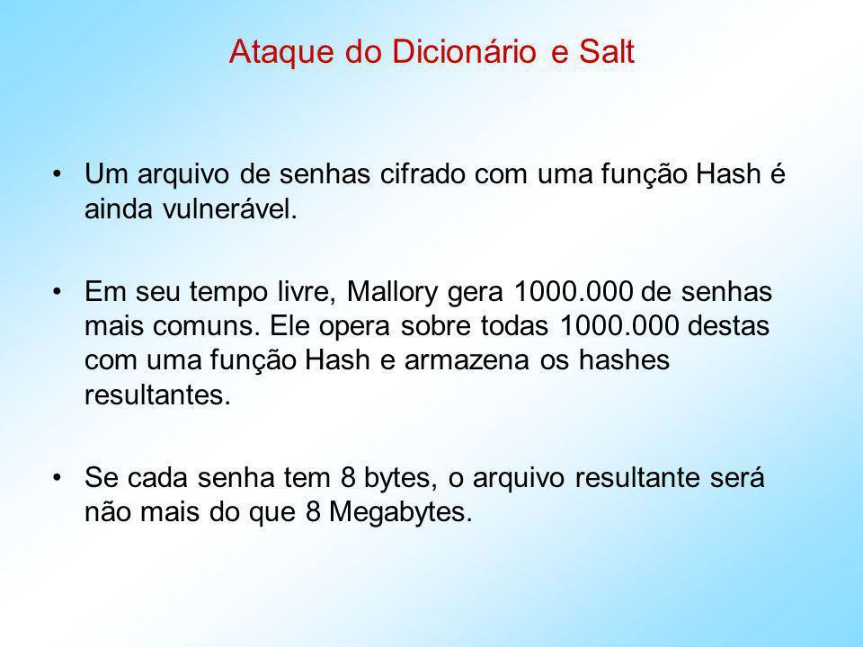 Ataque do Dicionário e Salt Mas, se Mallory furta, em um host, um arquivo de senhas criptografadas (por Hash), ele compara esse arquivo com seu arquivo de senhas possíveis criptografadas, e vê o que corresponde.