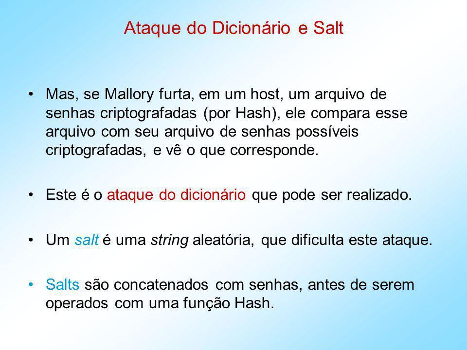 Ataque do Dicionário e Salt Então, ambos, o valor salt e o resultado da função Hash são armazenados numa base de dados no host.