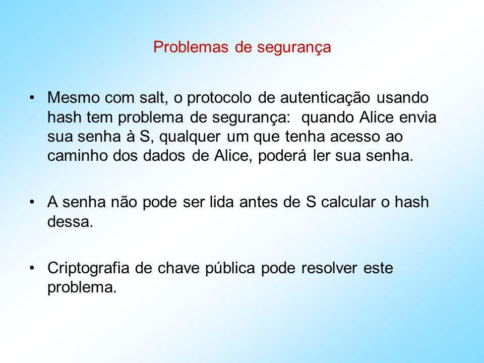 Protocolos Básicos Autenticação com chave compartilhada K entre A e B A B : N A B A : N B || V = E K ( N A || N B || ID B ) A : D K ( V ) == N A || N B || ID B A B : Q = E K ( N B || ID A ) B : D K ( Q ) == N B || ID A
