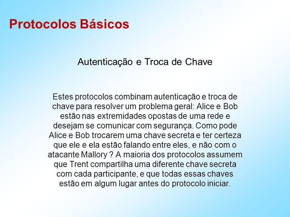 Protocolos Básicos Autenticação arbitrada T : Wide-Mouth-Frog Protocol A T : ID A || E KA ( T A || K S || ID B ) T B : E KB ( T B || K S || ID A ) T é um servidor confiável.