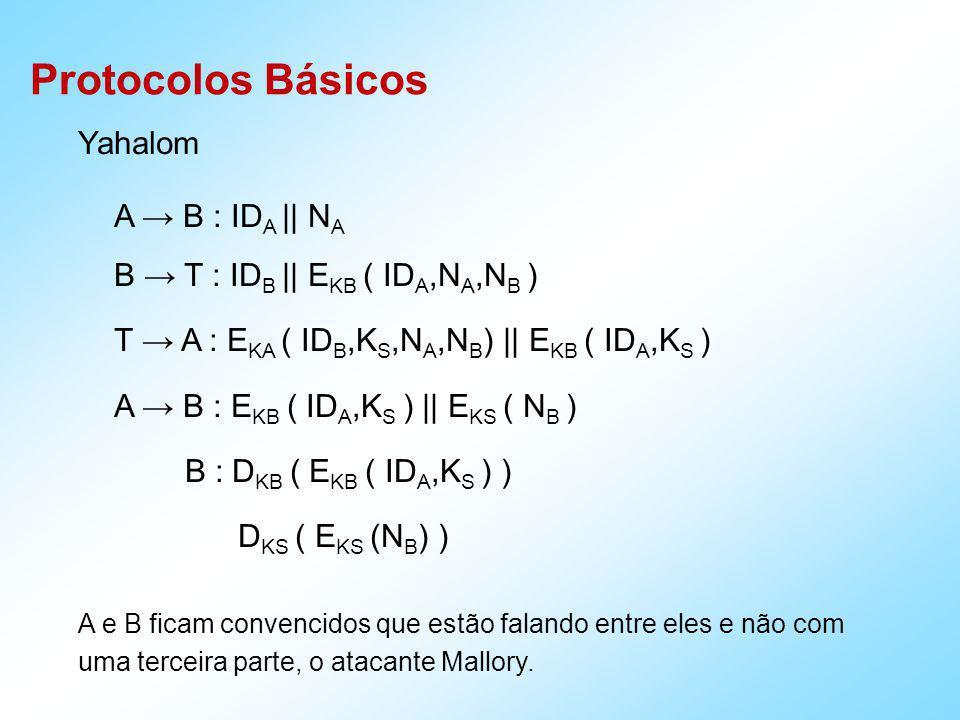 Protocolos Básicos Needham-Schroeder A T : ID A || ID B || N A T A : [ E KA ( N A || ID B || K S ) || E KB ( K S || ID A ) ] (2) A B : E KB ( K S,ID A ) B A : E KS ( N B ) A B : E KS ( N B -1 ) (5)