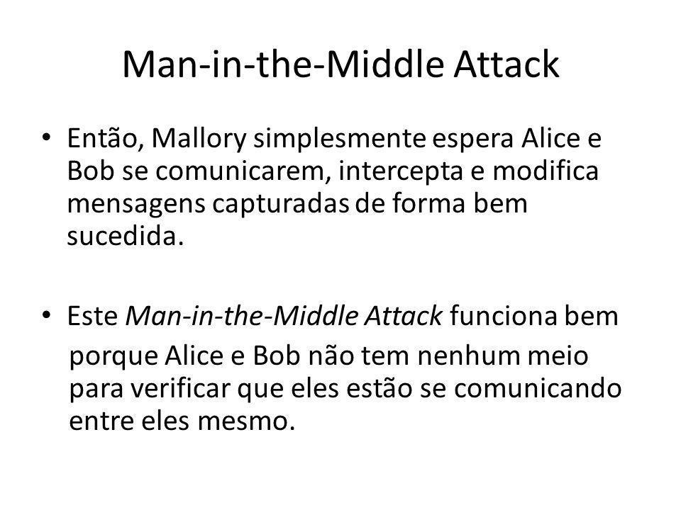 Man-in-the-Middle Attack Assumindo que Mallory não causa nenhum atraso de rede notável, Alice e Bob não tem ideia que alguém situado entre eles está lendo tudo de sua supostamente comunicação secreta.