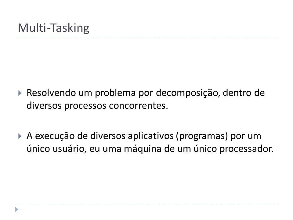 Multi-Tasking Resolvendo um problema por decomposição, dentro de diversos processos concorrentes. A execução de diversos aplicativos (programas) por u