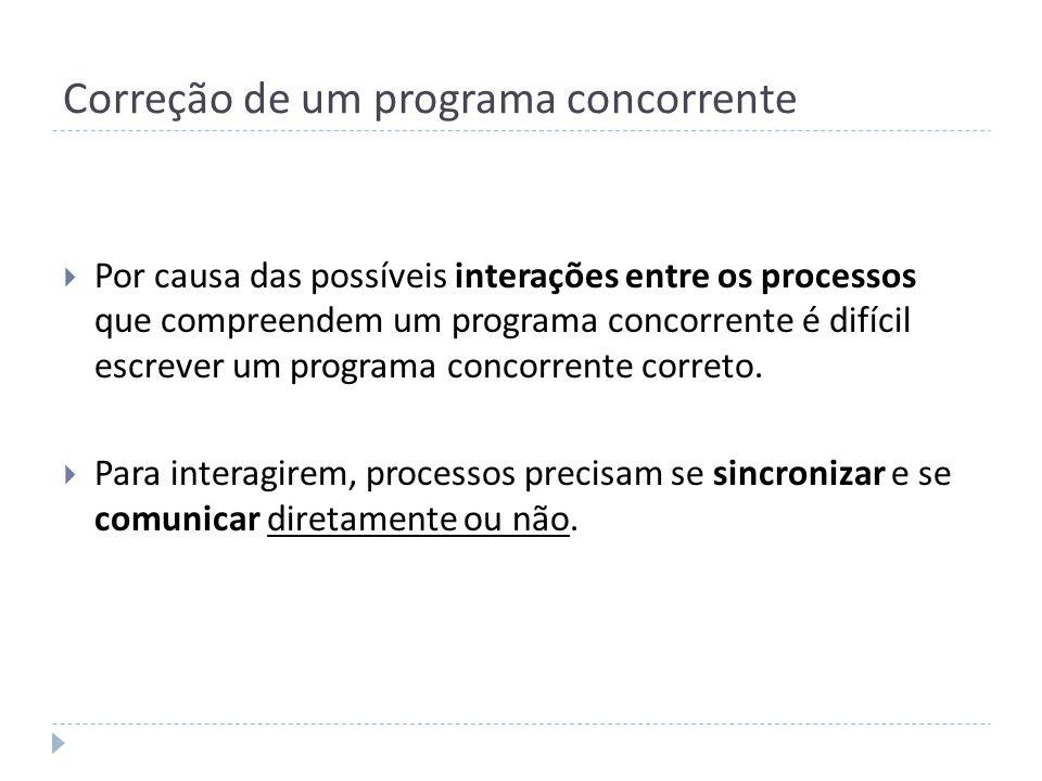 Correção de um programa concorrente Por causa das possíveis interações entre os processos que compreendem um programa concorrente é difícil escrever u