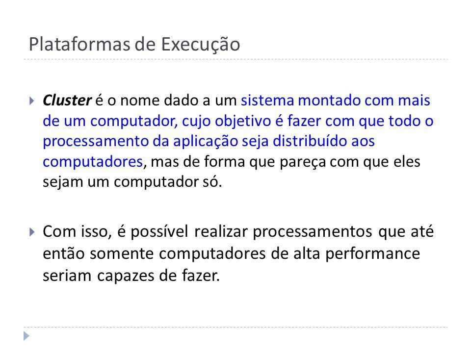 Plataformas de Execução Cluster é o nome dado a um sistema montado com mais de um computador, cujo objetivo é fazer com que todo o processamento da ap