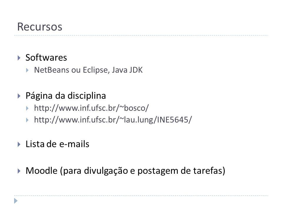 Recursos Softwares NetBeans ou Eclipse, Java JDK Página da disciplina http://www.inf.ufsc.br/~bosco/ http://www.inf.ufsc.br/~lau.lung/INE5645/ Lista d
