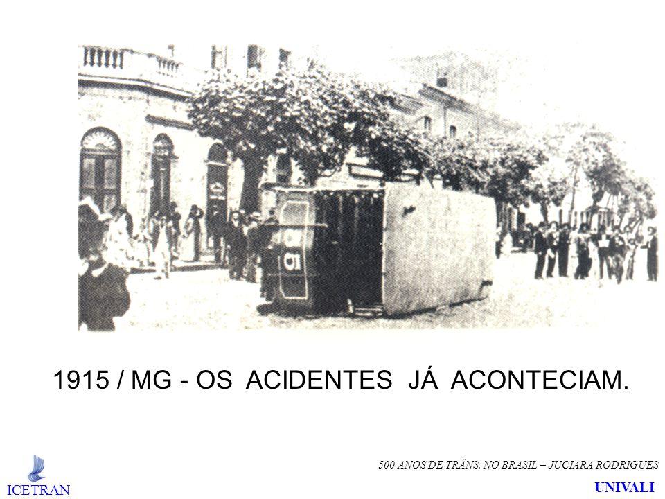 500 ANOS DE TRÂNS. NO BRASIL – JUCIARA RODRIGUES 1915 / MG - OS ACIDENTES JÁ ACONTECIAM. ICETRAN UNIVALI