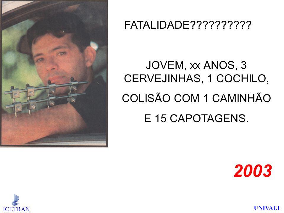 2003 JOVEM, xx ANOS, 3 CERVEJINHAS, 1 COCHILO, COLISÃO COM 1 CAMINHÃO E 15 CAPOTAGENS.