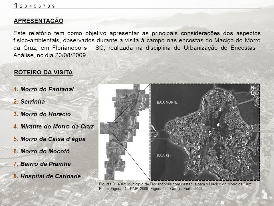 1. Morro do Pantanal 2. Serrinha 3. Morro do Horácio 4. Mirante do Morro da Cruz 5. Morro da Caixa dágua 6. Morro do Mocotó 7. Bairro da Prainha 8. Ho