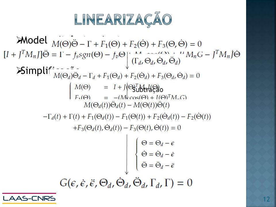 Modelo dinâmico do sistema Simplificação Subtração 12