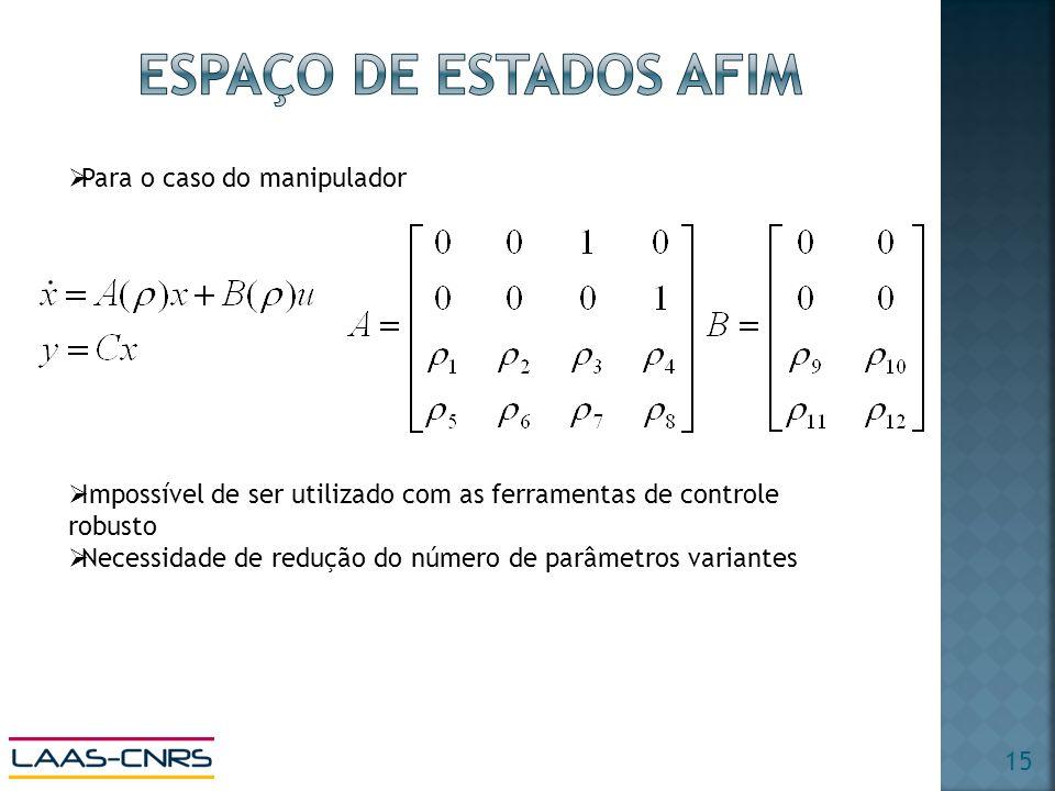 Para o caso do manipulador Impossível de ser utilizado com as ferramentas de controle robusto Necessidade de redução do número de parâmetros variantes 15