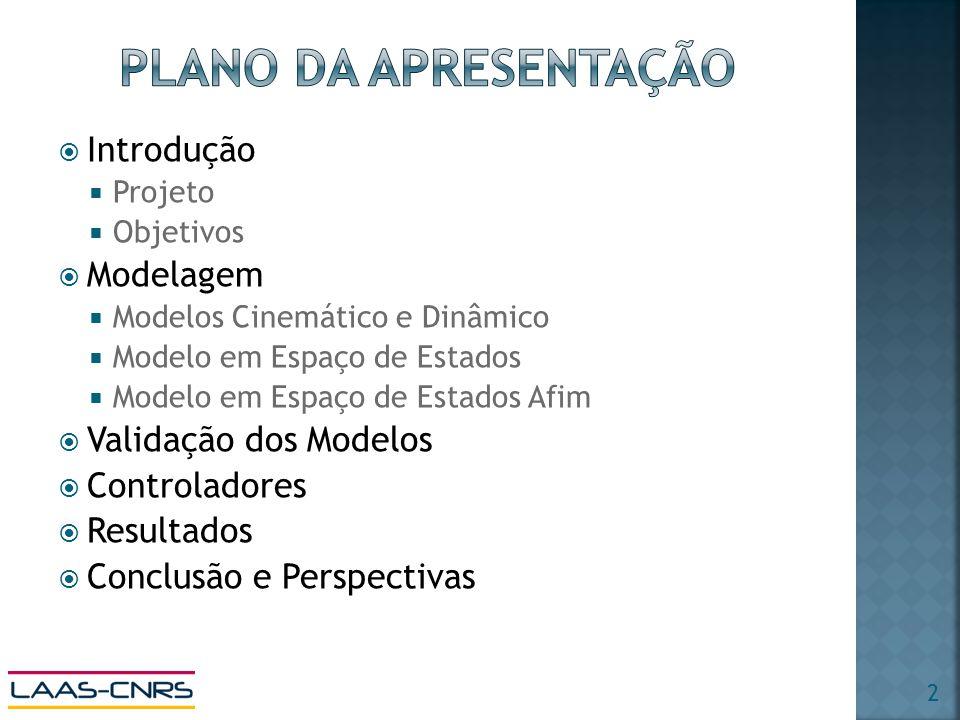 Introdução Projeto Objetivos Modelagem Modelos Cinemático e Dinâmico Modelo em Espaço de Estados Modelo em Espaço de Estados Afim Validação dos Modelos Controladores Resultados Conclusão e Perspectivas 2