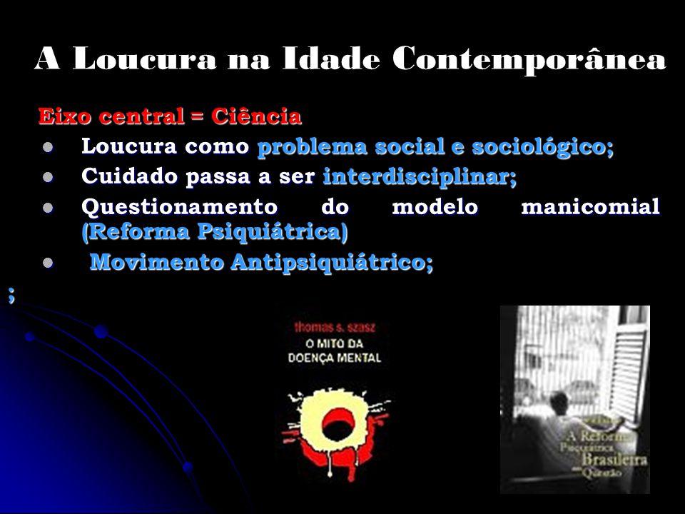 A Loucura na Idade Contemporânea Eixo central = Ciência Eixo central = Ciência Loucura como problema social e sociológico; Loucura como problema socia