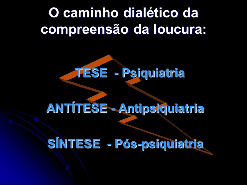 O caminho dialético da compreensão da loucura: TESE - Psiquiatria TESE - Psiquiatria ANTÍTESE - Antipsiquiatria ANTÍTESE - Antipsiquiatria SÍNTESE - P