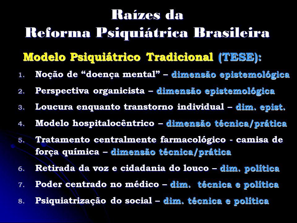 Raízes da Reforma Psiquiátrica Brasileira Modelo Psiquiátrico Tradicional (TESE): 1. Noção de doença mental – dimensão epistemológica 2. Perspectiva o