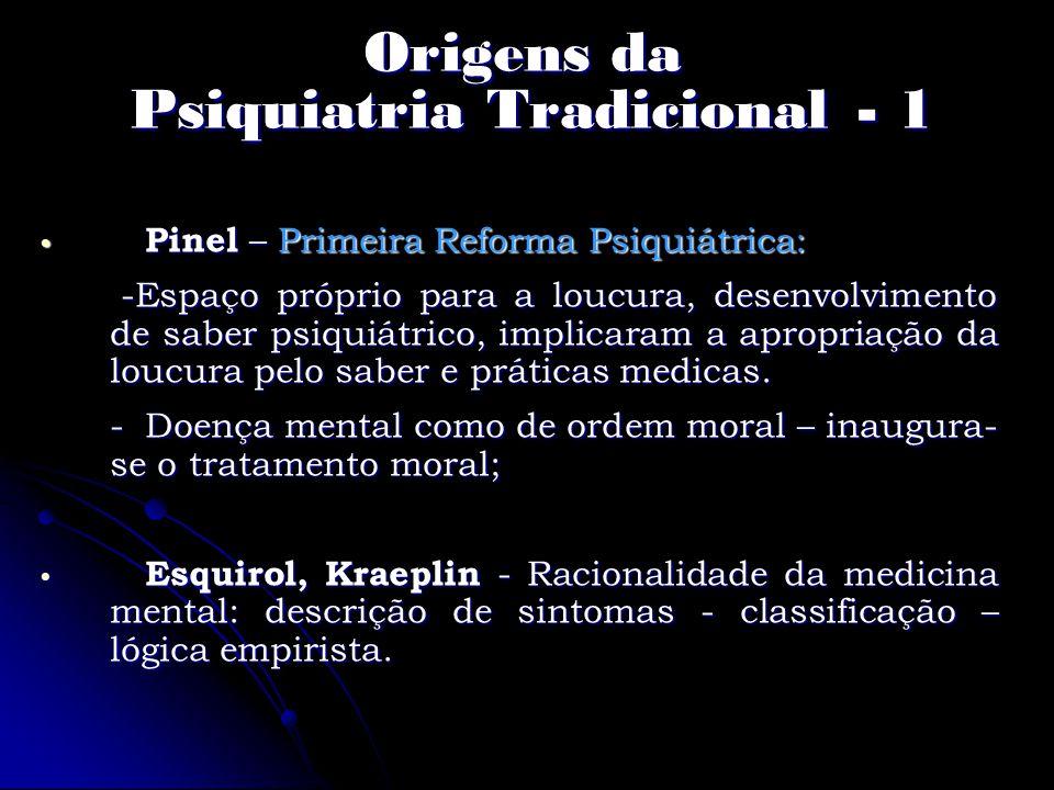 Origens da Psiquiatria Tradicional - 1 Pinel – Primeira Reforma Psiquiátrica: Pinel – Primeira Reforma Psiquiátrica: -Espaço próprio para a loucura, d
