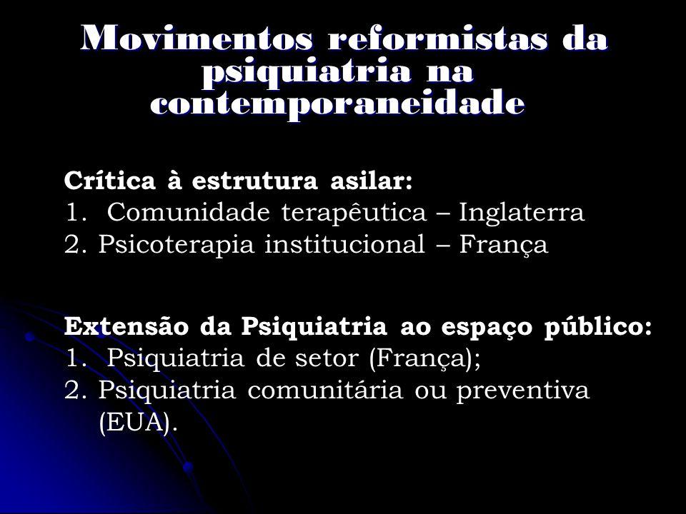 Movimentos reformistas da psiquiatria na contemporaneidade Movimentos reformistas da psiquiatria na contemporaneidade Crítica à estrutura asilar: 1. C