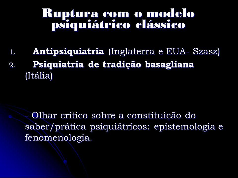 Ruptura com o modelo psiquiátrico clássico 1. Antipsiquiatria (Inglaterra e EUA- Szasz) 2. Psiquiatria de tradição basagliana (Itália) - Olhar crítico