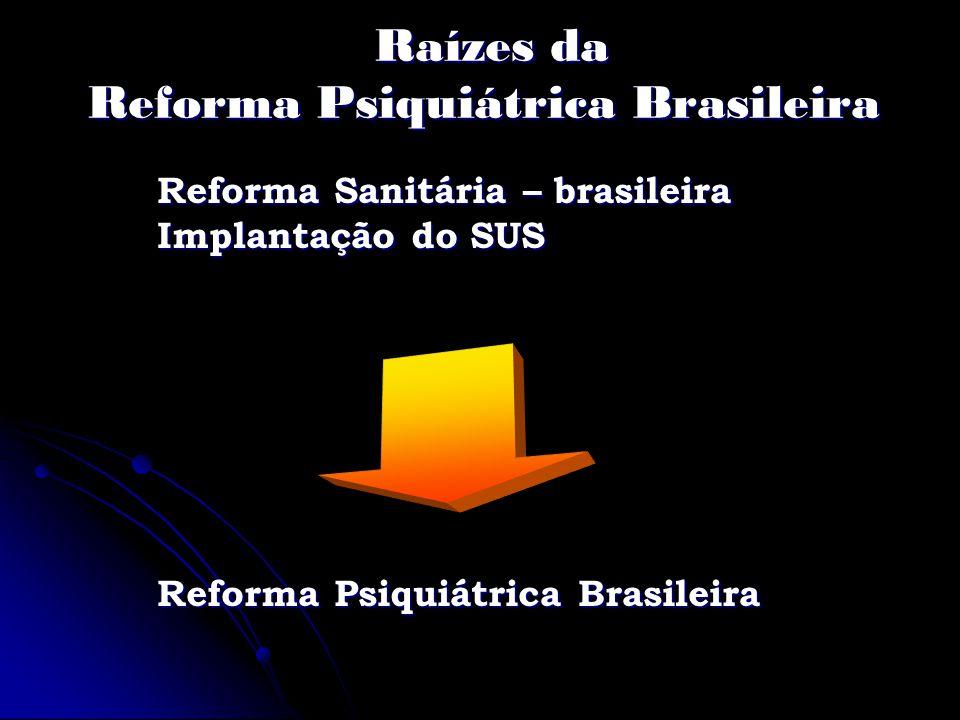 Raízes da Reforma Psiquiátrica Brasileira Raízes da Reforma Psiquiátrica Brasileira Reforma Sanitária – brasileira Implantação do SUS Reforma Psiquiát