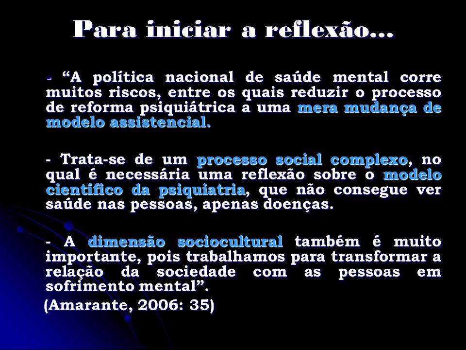 Reforma Psiquiátrica Brasileira Bases epistemológicas Segundo Basaglia, desinstitucionalizar não é somente modificar as formas de atenção à loucura, mas produzir modificações na cultura, na sociedade exclusora das diferenças, portanto, produzir modificações na racionalidade social sobre este fenômeno.