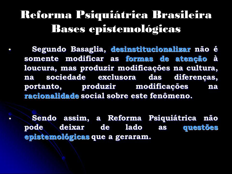 Reforma Psiquiátrica Brasileira Bases epistemológicas Segundo Basaglia, desinstitucionalizar não é somente modificar as formas de atenção à loucura, m