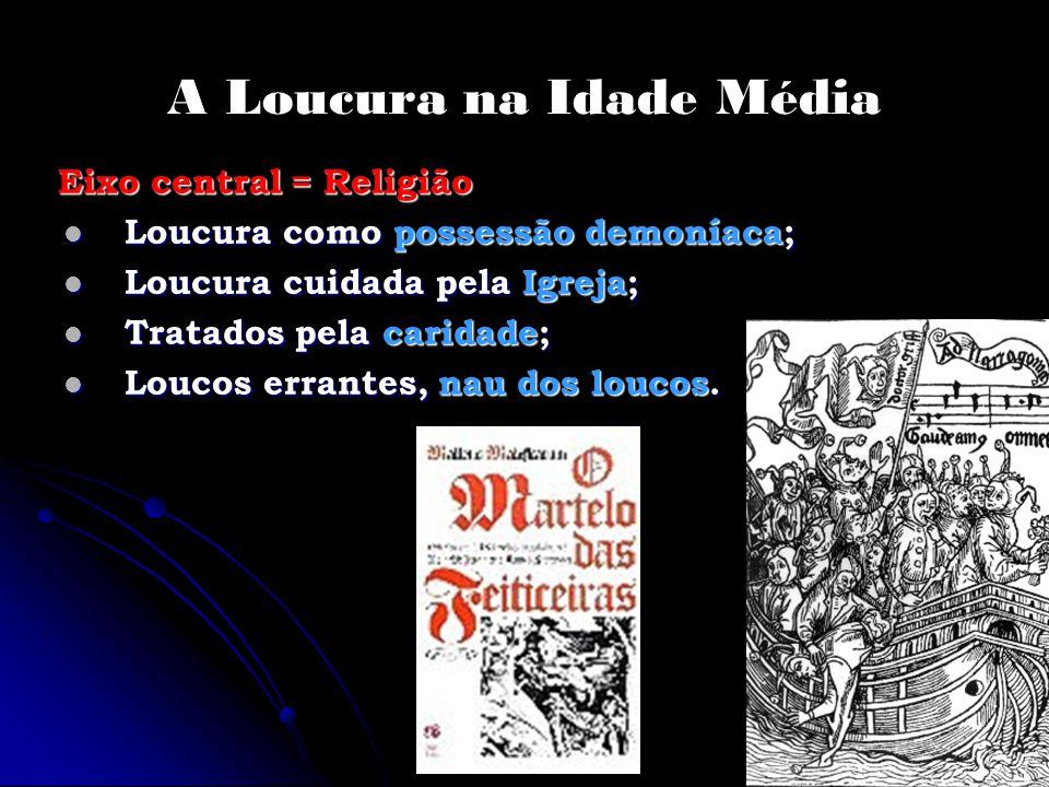 A Loucura na Idade Média Eixo central = Religião Eixo central = Religião Loucura como possessão demoníaca; Loucura como possessão demoníaca; Loucura c