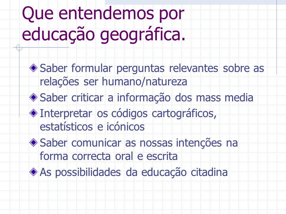 Que entendemos por educação geográfica.