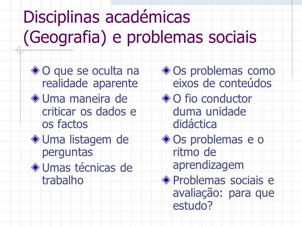 Disciplinas académicas (Geografia) e problemas sociais O que se oculta na realidade aparente Uma maneira de criticar os dados e os factos Uma listagem