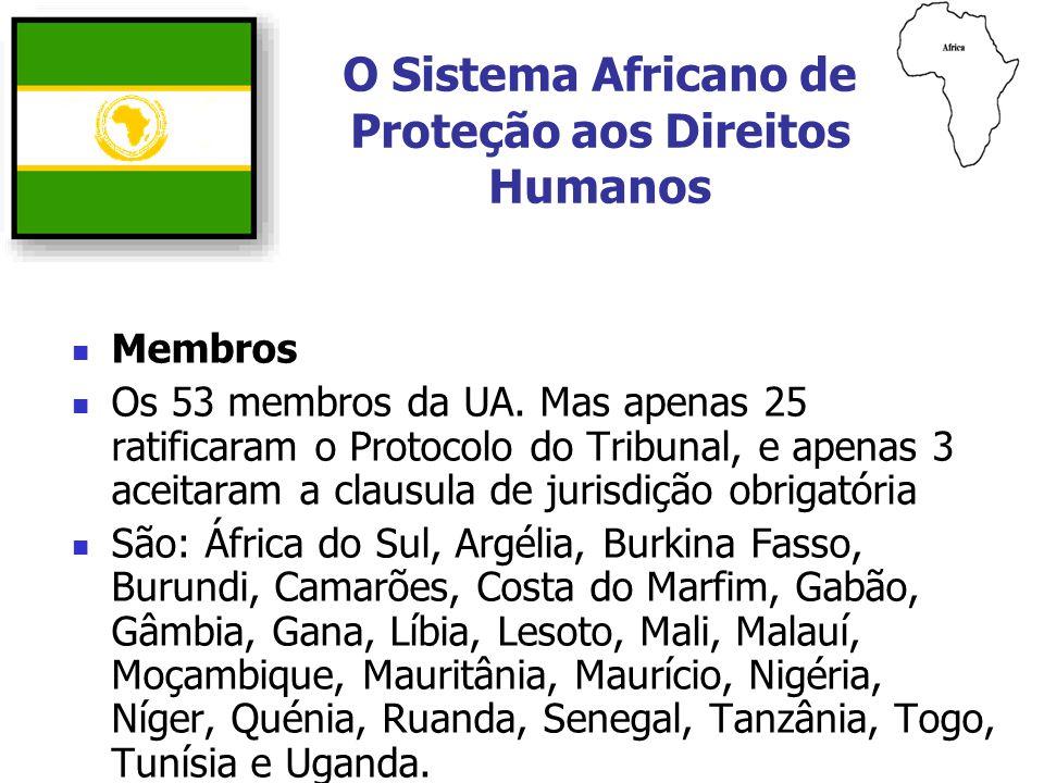 Membros Os 53 membros da UA. Mas apenas 25 ratificaram o Protocolo do Tribunal, e apenas 3 aceitaram a clausula de jurisdição obrigatória São: África