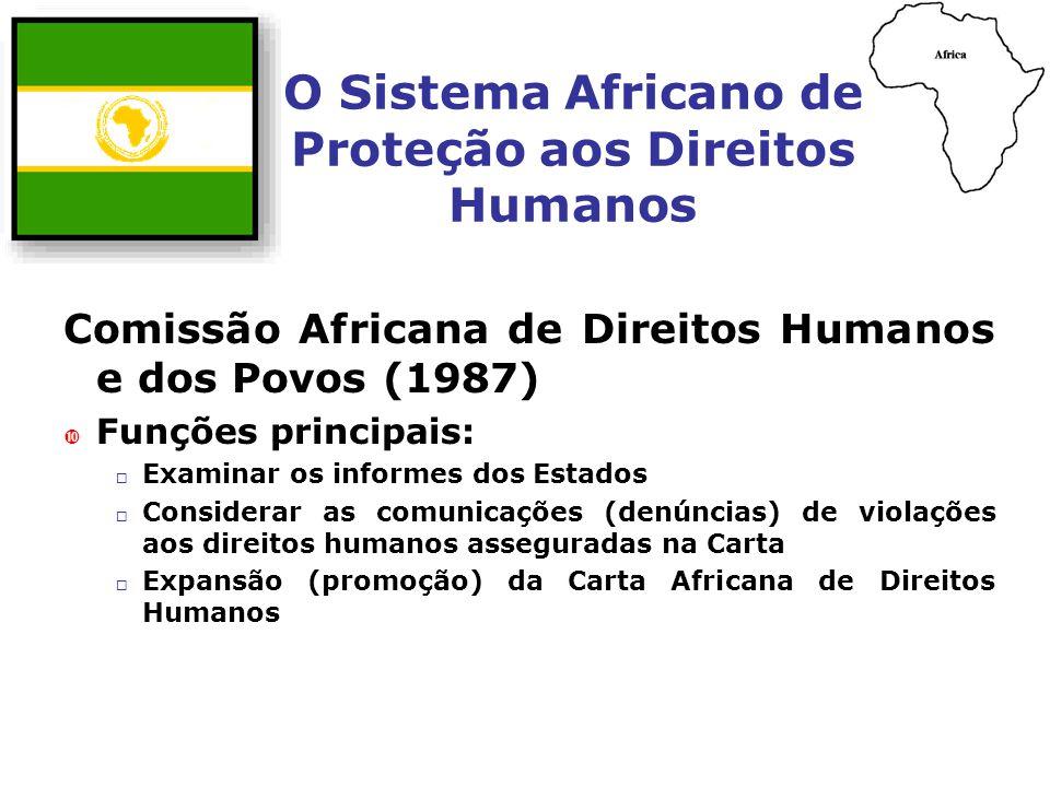 O Sistema Africano de Proteção aos Direitos Humanos Comissão Africana de Direitos Humanos e dos Povos (1987) Funções principais: Examinar os informes