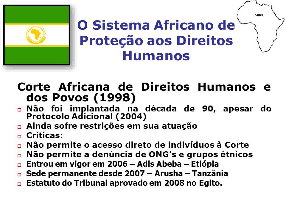 O Sistema Africano de Proteção aos Direitos Humanos Corte Africana de Direitos Humanos e dos Povos (1998) Não foi implantada na década de 90, apesar d
