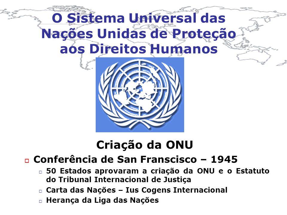 O Sistema Universal das Nações Unidas de Proteção aos Direitos Humanos Criação da ONU Conferência de San Franscisco – 1945 50 Estados aprovaram a cria