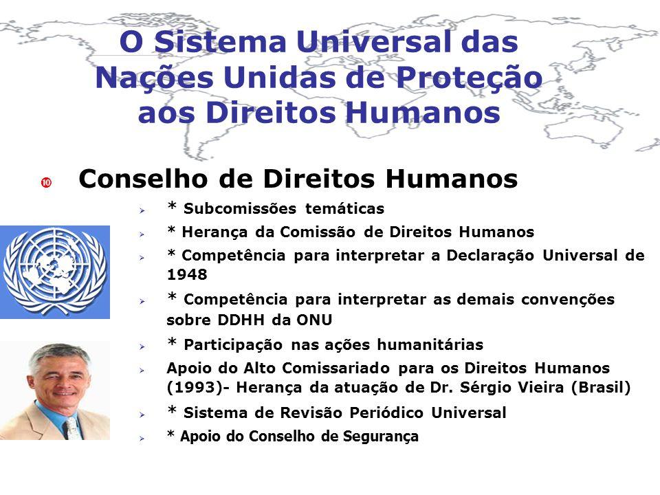 O Sistema Universal das Nações Unidas de Proteção aos Direitos Humanos Conselho de Direitos Humanos * Subcomissões temáticas * Herança da Comissão de