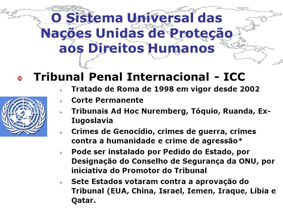 O Sistema Universal das Nações Unidas de Proteção aos Direitos Humanos Tribunal Penal Internacional - ICC Tratado de Roma de 1998 em vigor desde 2002