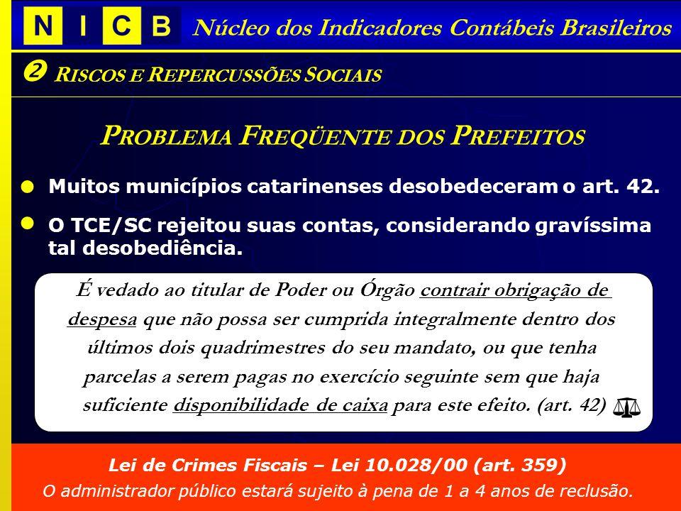Núcleo dos Indicadores Contábeis Brasileiros R ISCOS E R EPERCUSSÕES S OCIAIS P ROBLEMA F REQÜENTE DOS P REFEITOS Muitos municípios catarinenses desobedeceram o art.