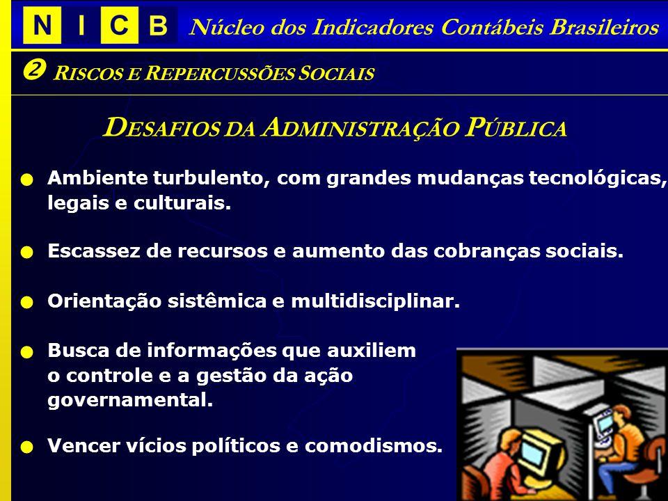 Núcleo dos Indicadores Contábeis Brasileiros D ESAFIOS DA A DMINISTRAÇÃO P ÚBLICA Ambiente turbulento, com grandes mudanças tecnológicas, legais e culturais.