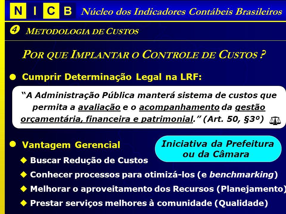I NDICADORES C ONTÁBEIS B RASILEIROS - ICB S Núcleo dos Indicadores Contábeis Brasileiros M ETODOLOGIA DE C USTOS P OR QUE I MPLANTAR O C ONTROLE DE C USTOS .